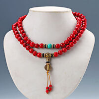 Chinese Natural Red Coral & Turquoise Handwork Necklaces & Pendant