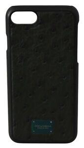 DOLCE & GABBANA Phone Case Cover Ostrich Skin Black Green Logo iPhone 8