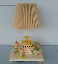 Vintage childs music box table lamp Nursery Originals wood circus wagon animals