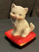 Vintage White Cat On Red Pillow Porcelain Figurine Mid Century Lefton Japan