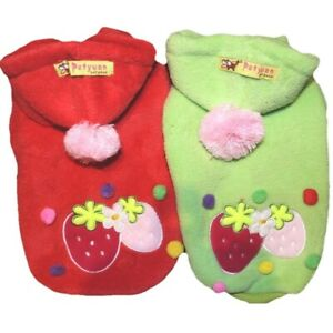 Dog Cat Clothes Coat STRAWBERRY Hoodie FLEECE Soft Warm For SMALL Pet XXS - L