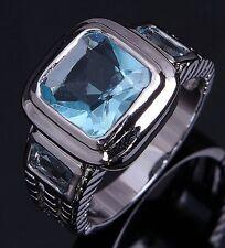 Jewelry Size 8 Mens Luxury Aquamarine 18K Gold Filled Classic Engagement Ring