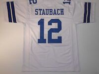 UNSIGNED CUSTOM Sewn Stitched Roger Staubach White Jersey - M, L, XL, 2XL