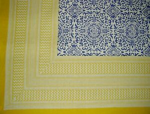 """Moroccan Print Square Cotton Tablecloth 70"""" x 70"""" Periwinkle & Yellow"""