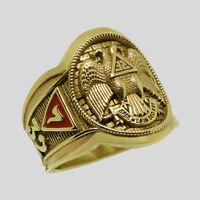 Stunning Scottish Rite 10K Solid Yellow Gold Freemason Masonic Ring Size 13.5