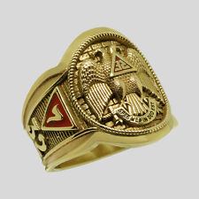 Stunning Scottish Rite 10K Solid Yellow Gold Freemason Masonic Ring Size 13.5