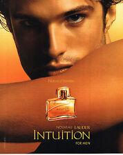 PUBLICITE ADVERTISING 075 2004 LAUDER   eau de toilette parfum homme INTUITION