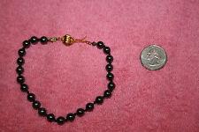 Black Faux Pearl Bracelet 10 inches long