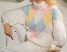 Womens Polo Neck Diamond Pattern Sweater Jumper Chunky Knitting Pattern