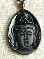 Beautiful Buddha obsidian amulet necklace. Free P&P
