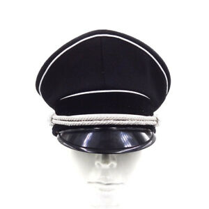 Military WWII WW2 German Elite Officer Hat Officer Cap Black With Eagle Badge XL