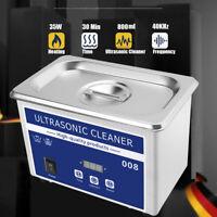 800ml Nettoyeur à Ultrason Cleaner Transducteur Chauffage NETTOYAGE +Bac Inox