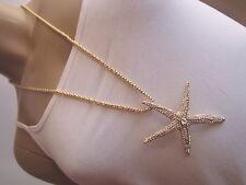 Damen Hals Kette Modekette lang Modeschmuck Gold Strass 3D Seestern XL Trend s98