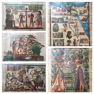 Set of 5 Egyptian painting on papyrus art/history/ancient Egypt/teachers