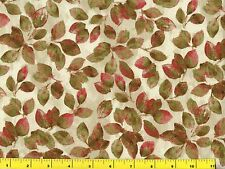 Red & Olive Green Leaves on Light Cream Quilting Fabric by Yard  #1014