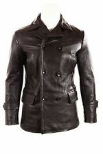 German Submariner WW2 Vintage Men's Cowhide Black Leather Jacket / Coat