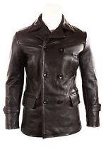 German Submariner WW2 Vintage Men's Cowhide Black Leather Jacket / Coat