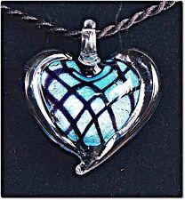 Pendentif coeur verre style murano turquoise lampwork pendant mode été mode KDO