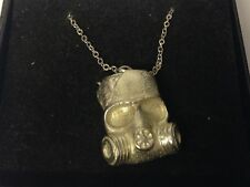 """Gas Mask GT194 Pewter On 16"""" Silver Plated Curb Necklace"""