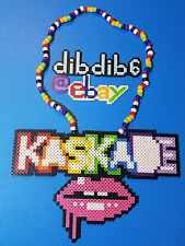 Kaskade kandi perler necklace rave EDC PLUR melty art