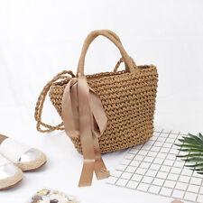 Women Summer Bowknot Straw Woven Beach Tote Basket Handbag Shoulder Bag Handmade