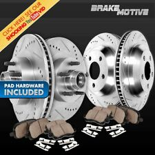 Front+Rear Drill Slot Brake Rotors & Ceramic Pads For Mountaineer Explorer 2WD