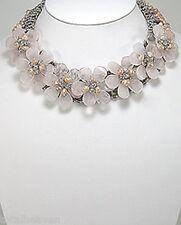 "Couture Rose Quartz Pink Pearl Flower Power Statement Necklace 16""-19"" GORGEOUS"