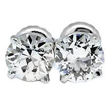 1.50 CARATO VECCHIA MANIERA Diamante taglio rotondo F VS1 A LOBO ORECCHINI