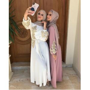 Muslim Abaya Women Long Maxi Dress Kaftan Robes Caftan Party Gown Arab