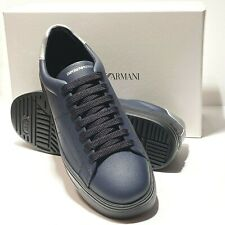 Emporio Armani Logo Fashion Leather Sneakers Sport Tennis Shoes Navy Blue X4X226