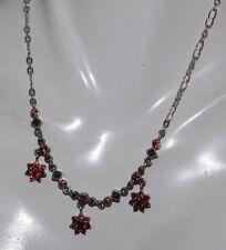 "Vintage JJ Sterling Silver Rhodolite Garnet Marcasite 17"" Chain Necklace 11b 71"