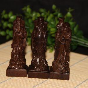 Handcraft Carve Vietnam Agarwood Wood Feng Shui Three Deitie Fuk Luk Sau Statue