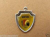 Vintage silver MONTANA STATE AMERICAN INDIAN TRAVEL SHIELD SOUVENIR charm #S