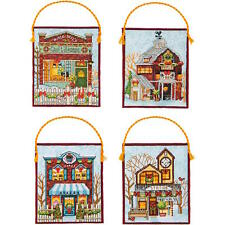 Dimensions Needlecrafts Winter Village Ornaments Counted Cross Stitch Kit
