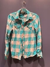 Women's Small Fox Racing Teal Gray Plaid Button Front Flannel Shirt