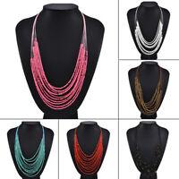 Boho Women Seed Beads Necklace Long Multi Layer Chain Bib Statement Jewelry U7