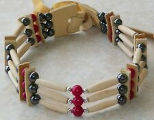 Native American Bone Choker Hematite & Turquoise Stones Silver Beads Regalia