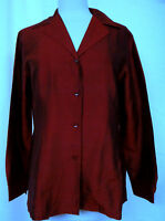 EMANUEL UNGARO 100% Silk Semi Fitted Long Sleeve Blouse Side Slits Sz 8 42