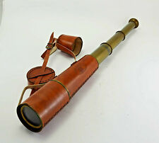 Brass Kelvin and Hughes London Leather Covered Telescope