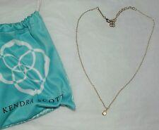 Kendra Scott Silver Necklace w/ Silver Teardrop Clear Crystal Pendant+ Pouch