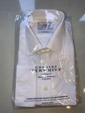 "MENS CHARLES TYRWHITT CLASSIC FIT DOUBLE CUFF POPLIN WHITE SHIRT. 16.5"" NEW"