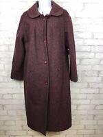 Vintage Union Plum Purple Wool Long Overcoat Pea coat Womens Size 14/16