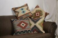 4 Set of Vintage Kilim Pillows 18x18 Hand Woven Jute Rugs Rustic Cushion 10021