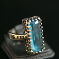 Turkish Handmade Jewelry Sterling Silver 925 Aquamarine Ring 6-9
