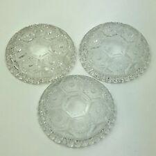 Set of 3 Vintage Sunburst Diamond Crystal Ashtray Coaster Made in Italy 4.5 Inch
