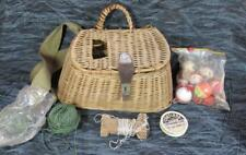 Vintage Fishing Wicker Creel with Metal Fish Head Clasp plus Contents