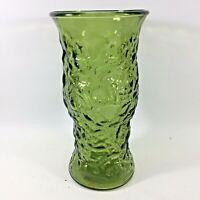 "Vintage EO Brody 9 1/2"" Decorative Textured Green Blown Glass Vase Pontil Mark"