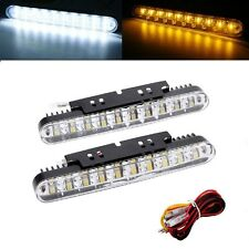 2 x 19cm 6000K DRL Daytime Running Lights with Amber Indicator 12v - Seat Ibiza