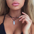 FASHION Femmes PU Cuir Choker Déclaration Chunky Collier Collier Pendentif