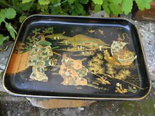 Ancien plateau en papier maché décor personnages Asiatiques état  TTB